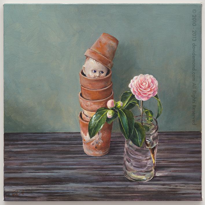 Plant Pot Baby - David Edmond - 40x40 cm - Oil on Canvas