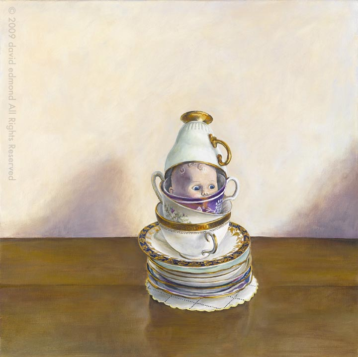 The Anxious Teacup Baby - David Edmond - 40 x 40 cm - Oil on Canvas