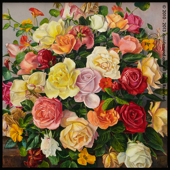 Thirty One Roses - David Edmond - 66x66 cm - Oil on Canvas