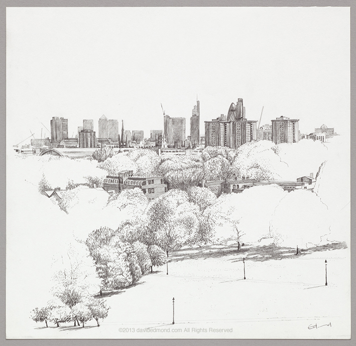 From Primrose Hill, (looking south east)- David Edmond - 30 x 30 cm