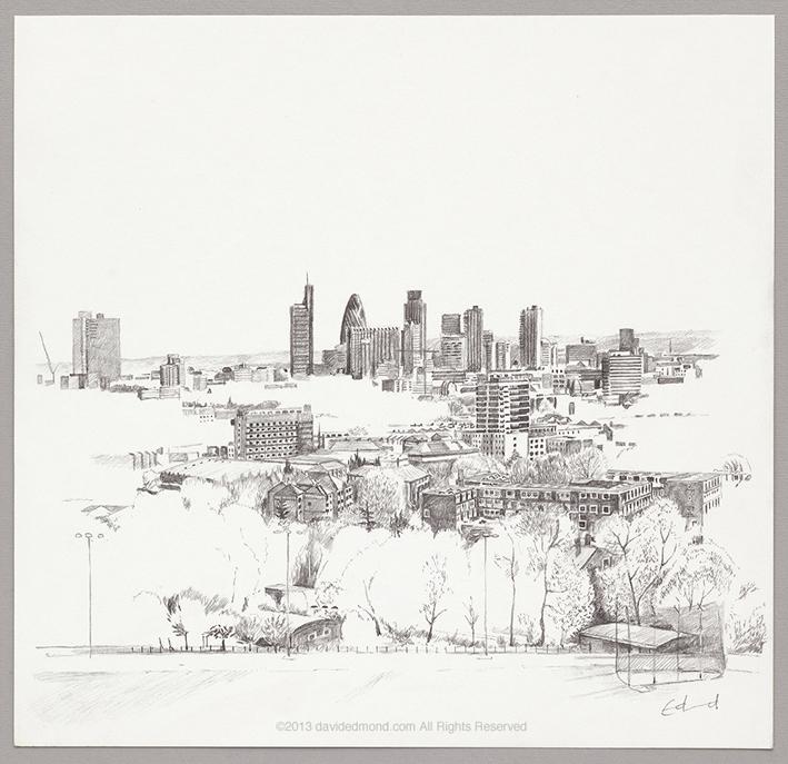 Parliment Hill, (looking south east) - David Edmond - 30 x 30 cm