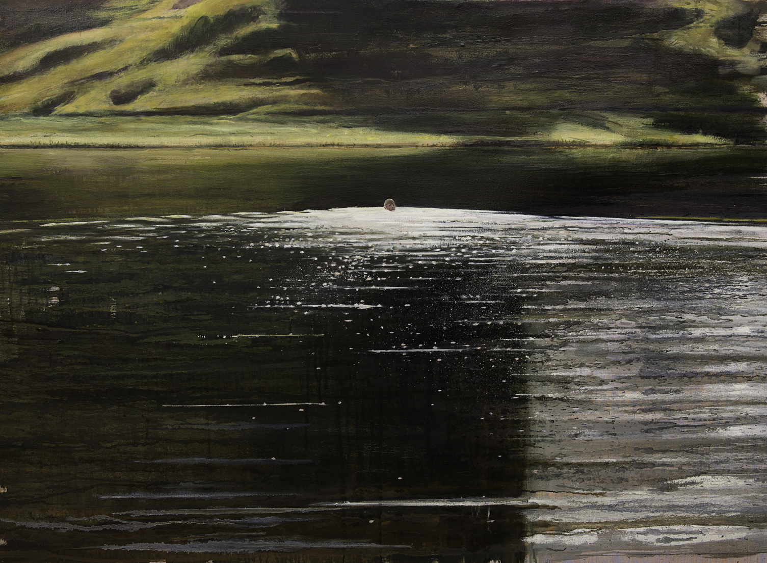 Untitled (Lake swimmer) - Oil on Canvas